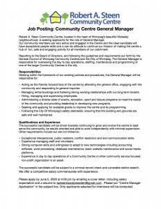 RASTEEN Manager job post.